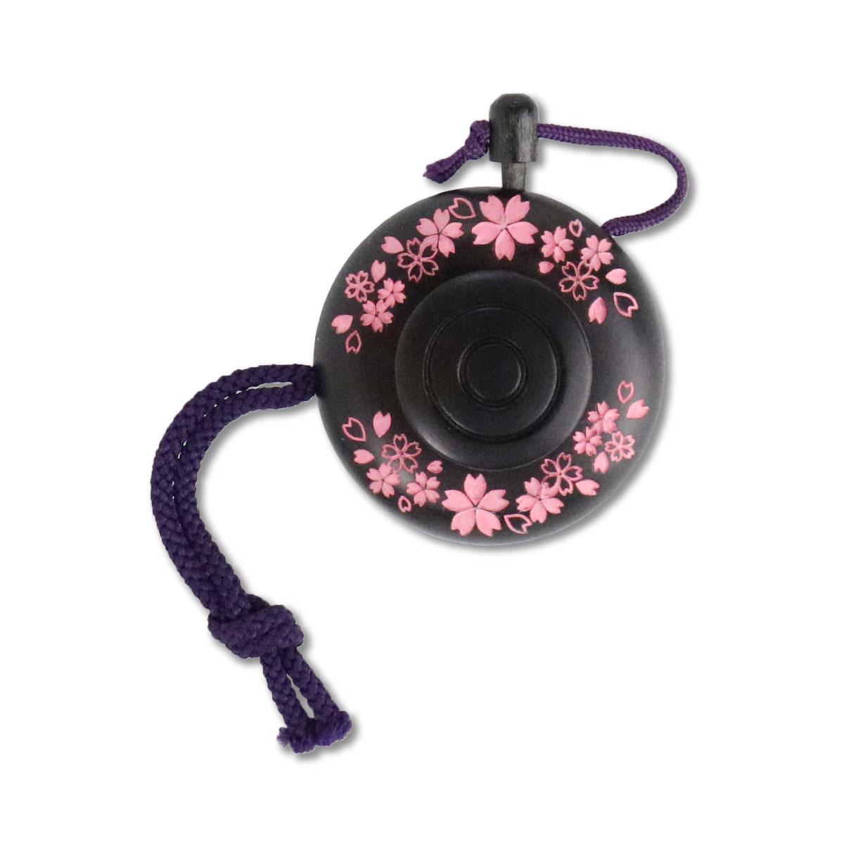 塗香入れ 黒檀 桜彫り ピンク (小)