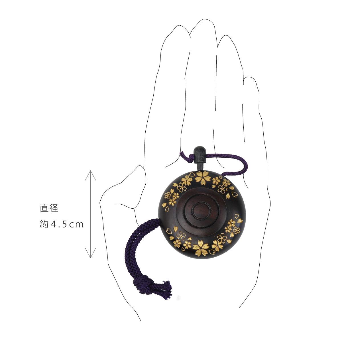 塗香入れ 黒檀 桜彫り 金 (小)