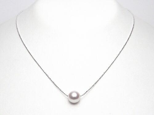 長さ調節可能なスライド式K18アコヤ真珠スルーネックレス(8ミリ/WG・YG・PGより選択可)