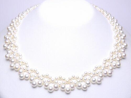 K18WG淡水真珠デザインネックレス