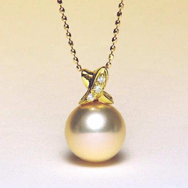 K18YG淡水真珠ダイヤ入りペンダント(ピンクゴールドカラー/9mm/長さ調節可能なスライド式K18YGチェーン付き)