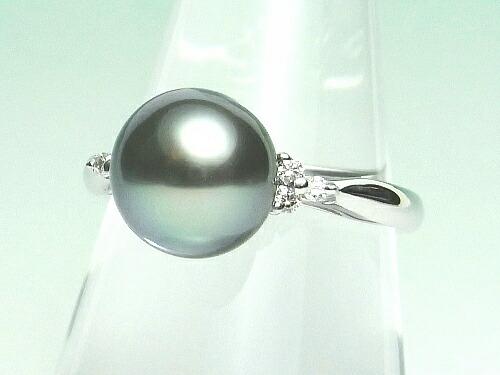黒蝶真珠ダイヤ入りリング(プラチナ製】ライトグリーンカラー)