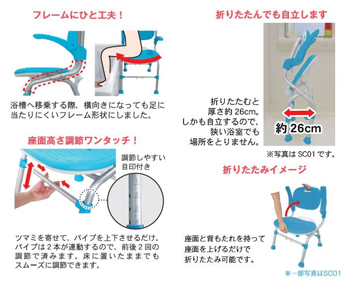 U型シャワーチェアSCU01の機能2