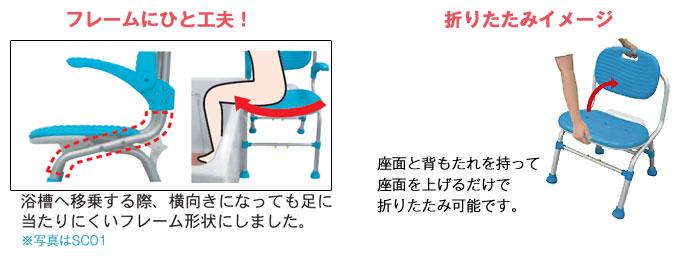 シャワーチェアSC03の機能2