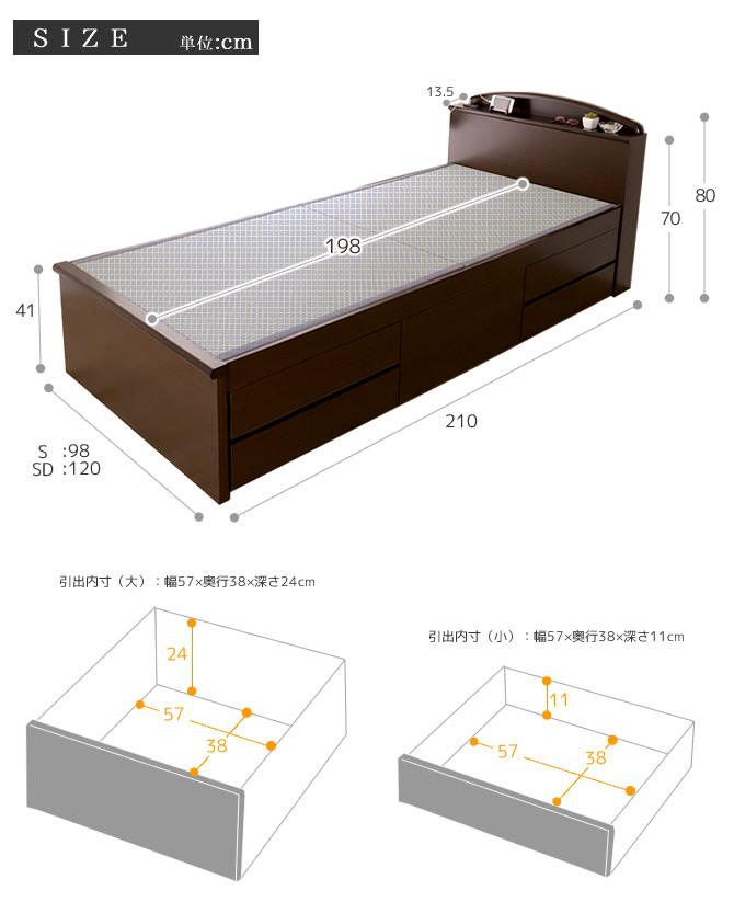 棚コンセント付畳ベッドセミダブル SEKISUI「美草」グリーン チェストベッド