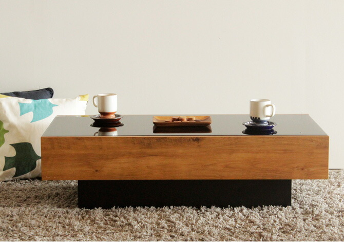 Huonest Center Table Wooden Nights Black Gl Shelf