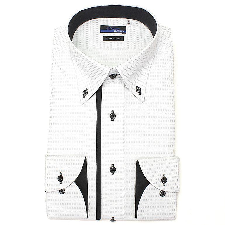 ボタンダウンMONOTONEドレスシャツ綿100%形態安定長袖ワイシャツ