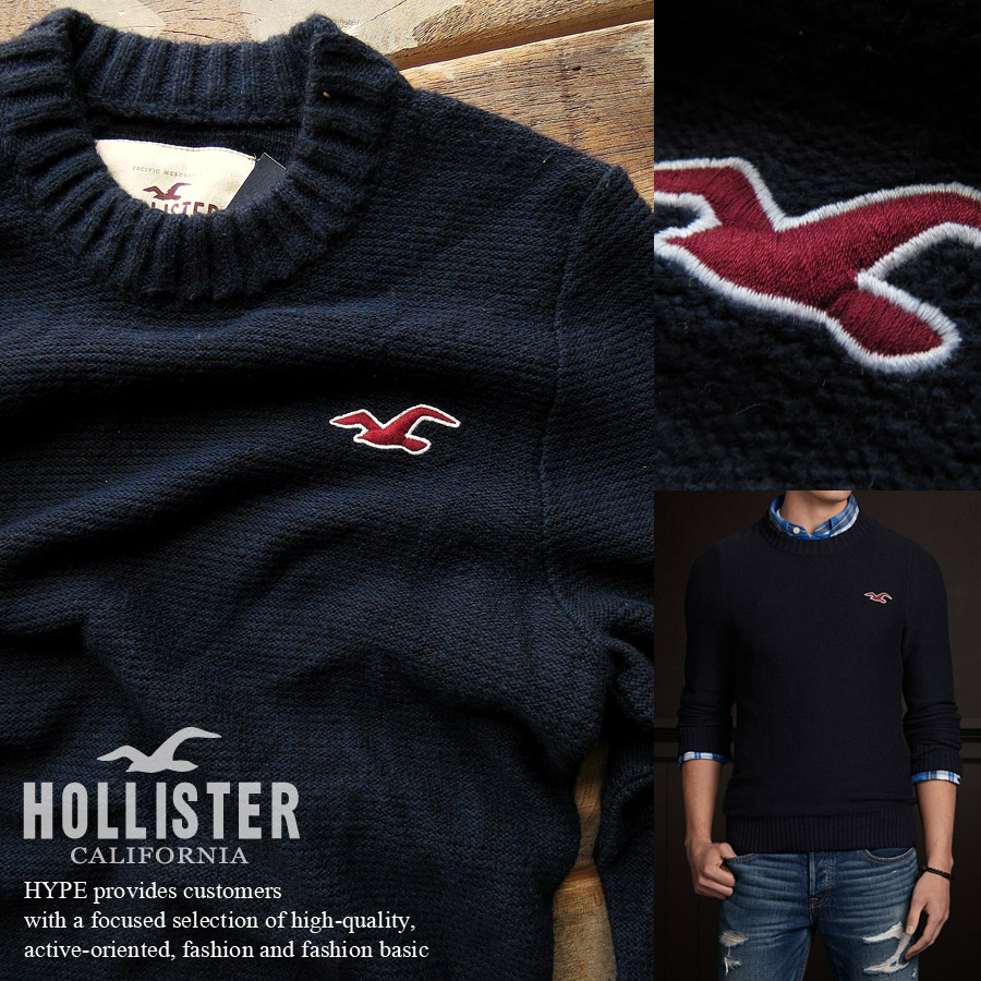 aa1ea2639590 hype  Hollister sweater men s genuine crew neck sweater round collar ...