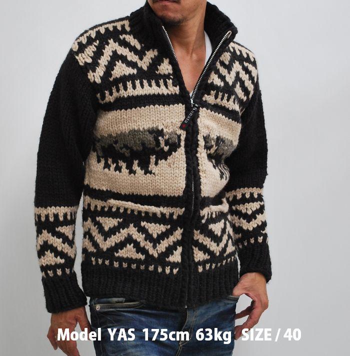 2a3267889 hype  Kanata Kanata Cowichan sweater mens Buffalo pattern Cardigan ...