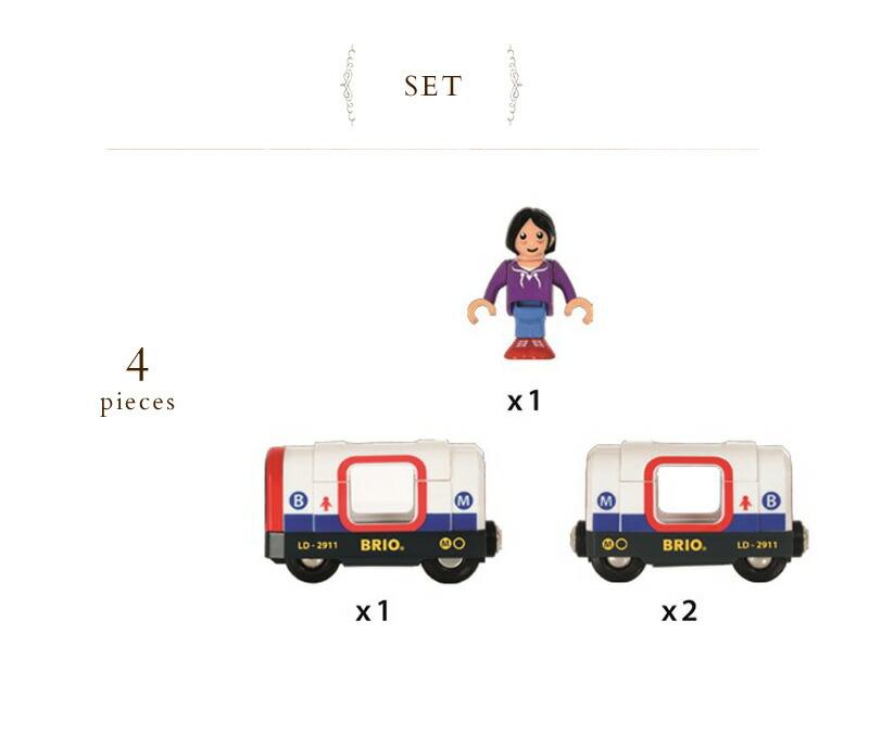 BRIO(ブリオ)  ライト&サウンド付メトロ列車   33867  木のおもちゃ 木製玩具 ウッドトイ 電車 地下鉄 レールトイ