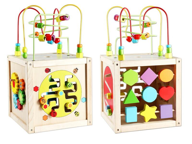 Classic World(クラシックワールド) マルチアクティビティ キューブ  CL2885  木のおもちゃ 型はめ パズル 森の遊び箱 知育玩具 1歳半 2歳 楽器 木琴 おもちゃ ルーピング
