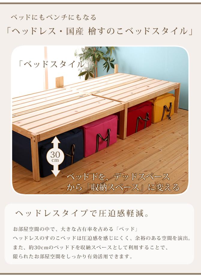 ベッド下は約30cm ちょっとした収納スペースとして ベッド下収納