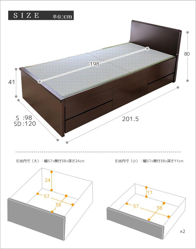 フラットヘッド 畳ベッドシングル SEKISUI「美草」グリーン チェストベッド