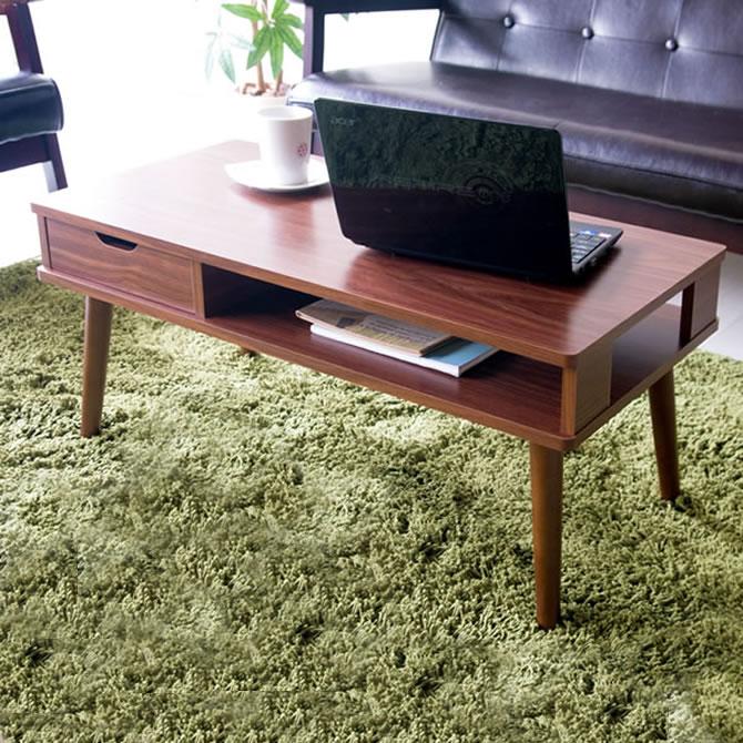 テーブルにパソコンを収納!木製センターテーブル Offre(オッフル)80×40cm