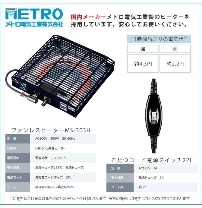 日本メーカー製こたつヒーター採用