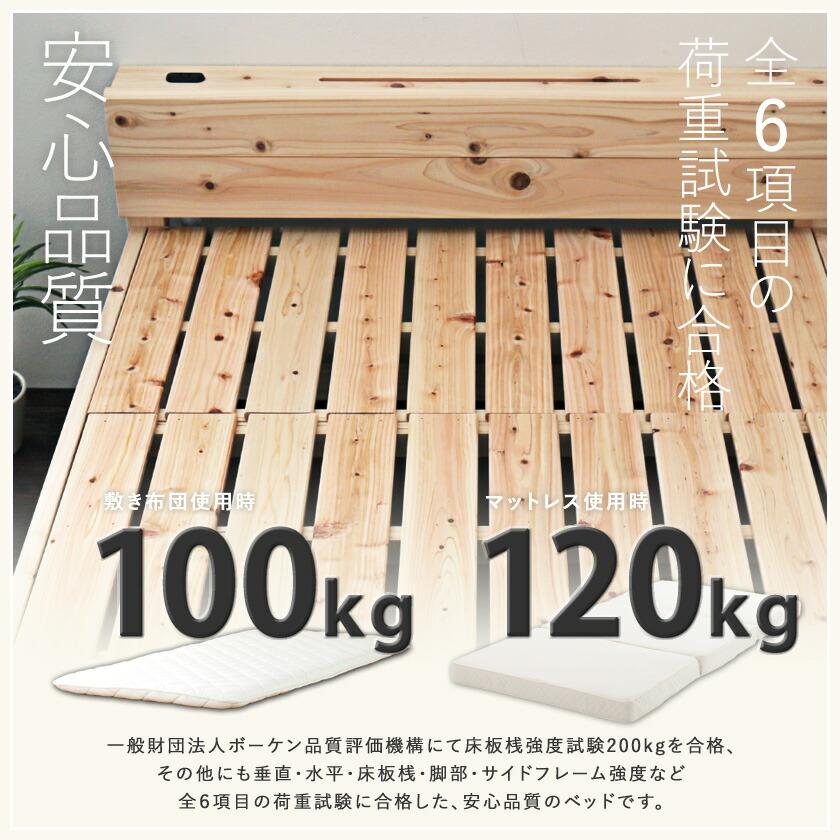 ヘッドレス檜すのこベッド 全6項目の荷重試験に裏付けされた耐荷重画像