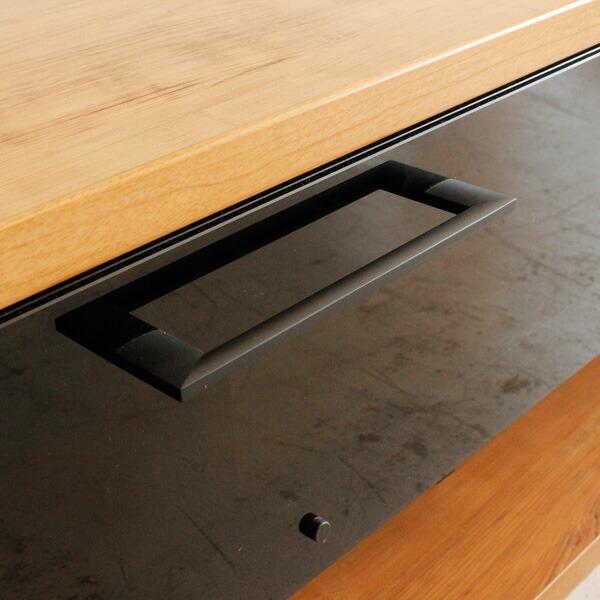 ローボードテレビ台 ネイツ 幅160cm シンプルなブラックの取っ手