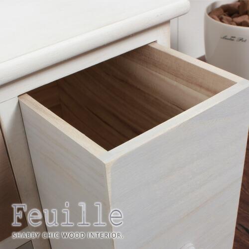 シャビーウッド家具シリーズ「feuille」湿気に強く、軽い桐材を使用。