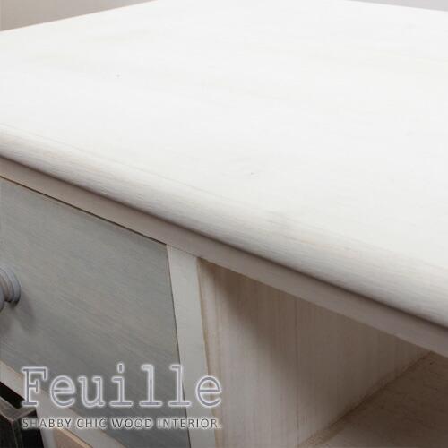 シャビーウッド家具シリーズ「feuille」天板は人気のホワイトウォッシュカラー。