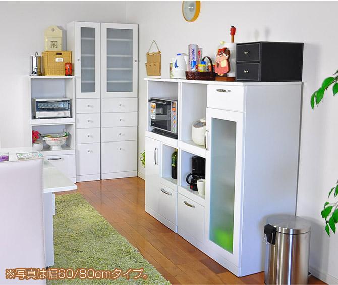 モイス加工 レンジ台 幅50cm 日本製でシンプルなホワイトを基調とした機能性の高いレンジ台