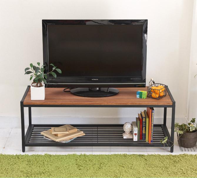 アトム テレビ台 幅113cm マッドパイプにラフな質感のパイン材を組み合わせたテレビ台