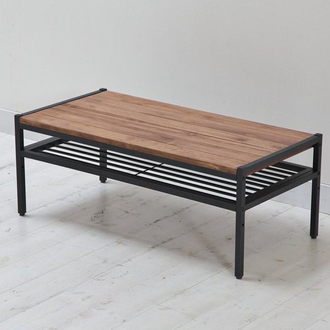 アトム リビングテーブル 天板は四方をアイアンで縁取った、モダンなデザイン