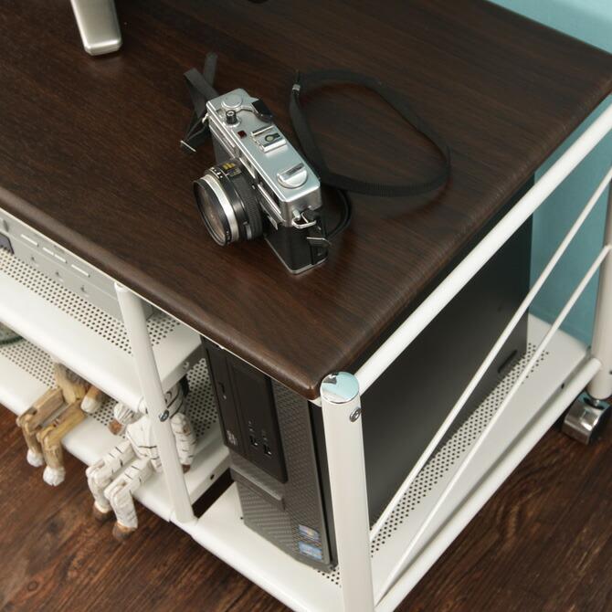 テレビ台 カナル 幅100cm ブラウン天板×シルバー×ホワイトのスタイリッシュなデザイン