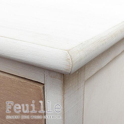シャビーウッド家具シリーズ「feuille」丸みを帯びた角
