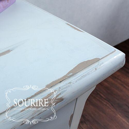 シャビーシック家具シリーズ「SOURIRE」ペンキが剥がれかけているような、使い込まれて、古いけど味がある加工。