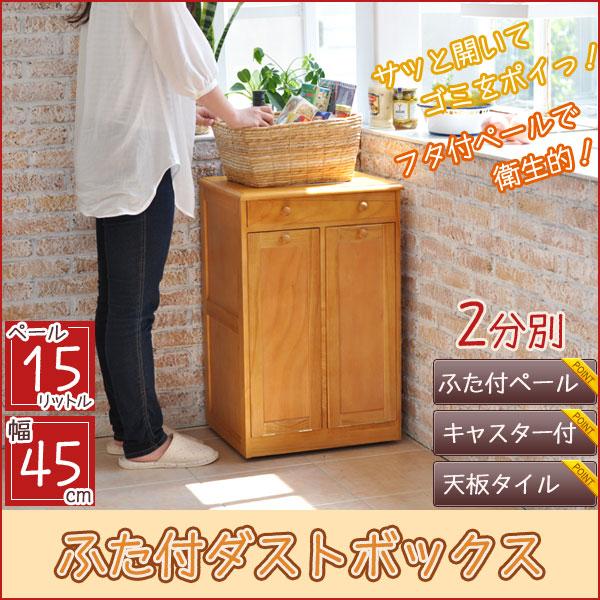 ゴミ箱 おしゃれ ふた付き 幅45cm 2分別ゴミ箱 キッチン用ダストボックス …