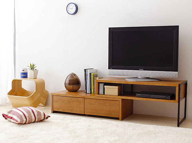 i office1 rakuten global market tv board natural wood wide stretch rotating tv stand width 91. Black Bedroom Furniture Sets. Home Design Ideas