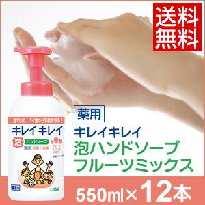 キレイキレイ薬用泡ハンドソープ フルーツミックス 550ml×12本