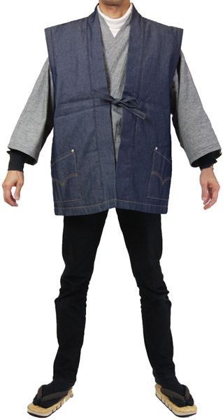 男女兼用,防寒着,半天,でんち,どてら,袖なし,半纏,冬用,手縫い,手作り,綿紬,綿,綿入り,デニム,ステッチ,リベット,ちゃんちゃんこ,ネイビー,紺,着物,作務衣