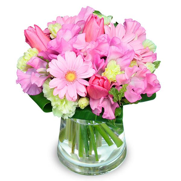【チューリップ特集】チューリップとガーベラのグラスブーケ 111032 |花キューピットの2020チューリップ特集特集