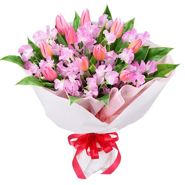 【チューリップ特集】チューリップとスイートピーの花束 111035 |花キューピットの2020チューリップ特集特集