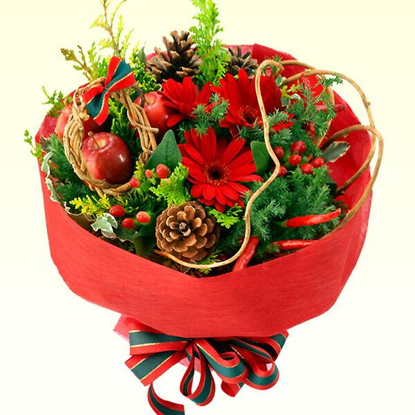 【クリスマスフラワー】赤のブーケ 114010 |花キューピットの2019クリスマスフラワー特集
