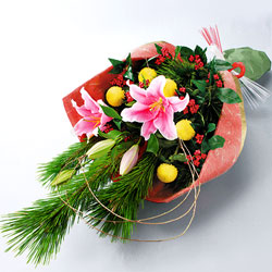【お正月 フラワーギフト特集】お正月の花束 114028 |花キューピットの2019お正月 フラワーギフト特集