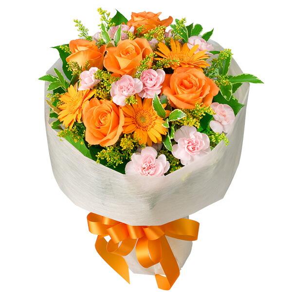 【春の退職祝い・送別会特集】オレンジバラのミックス花束 511072 |花キューピットの2020春の退職祝い・送別会特集特集