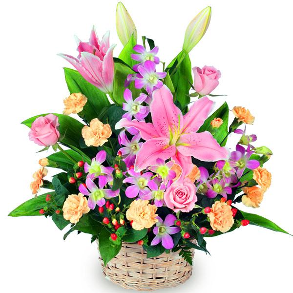 【秋の発表会・展覧会】ピンクユリのアレンジメント 511254 |花キューピットの2019秋のお祝いプレゼント特集