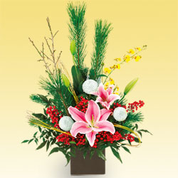 【お正月フラワーギフト】お正月のアレンジメント 511257 |花キューピットの2021お正月フラワーギフト特集
