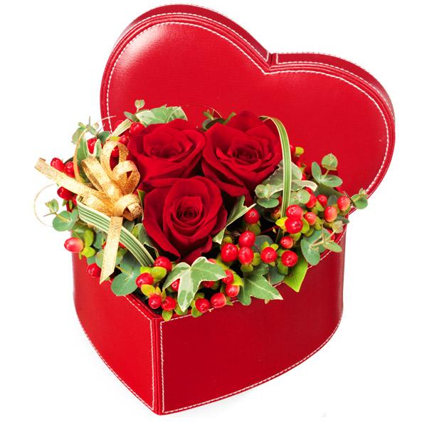 【結婚記念日】赤バラのハートボックスアレンジメント 511265 |花キューピットの結婚記念日 ジューンブライド特集2020