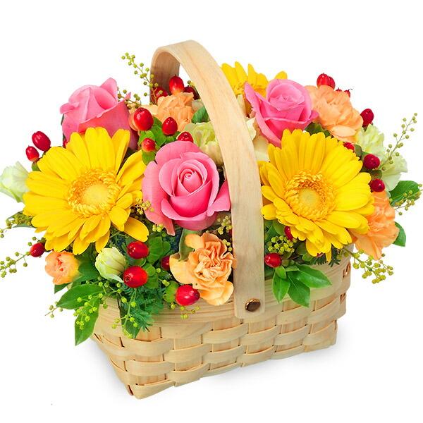 【秋の結婚記念日】ピンク&イエローのアレンジメント 511338 |花キューピットの2019秋のお祝いプレゼント特集