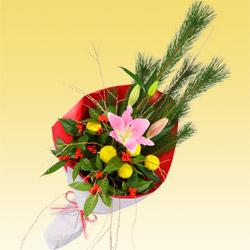 【お正月フラワーギフト】お正月の花束 511347 |花キューピットの2021お正月フラワーギフト特集