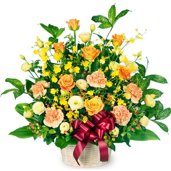 【秋の結婚記念日】オレンジバラのリボンアレンジメント 511500 |花キューピットの2019秋のお祝いプレゼント特集