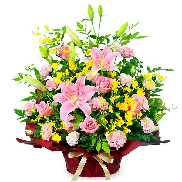 【秋の発表会・展覧会】ピンクユリの華やかアレンジメント 511511 |花キューピットの2019秋のお祝いプレゼント特集