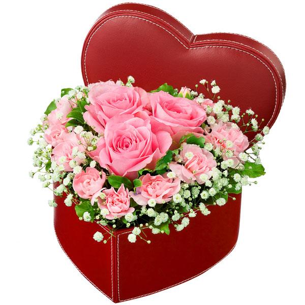 【秋の結婚記念日】ピンクバラのハートボックスアレンジメント 511568 |花キューピットの2019秋のお祝いプレゼント特集