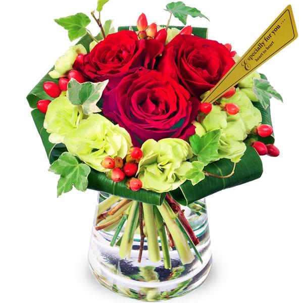 【結婚記念日】赤バラのグラスブーケ 511614 |花キューピットの結婚記念日プレゼント特集2020