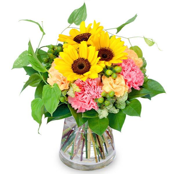 【結婚記念日】ひまわりとカーネーションのグラスブーケ 511759 |花キューピットの結婚記念日プレゼント特集2020