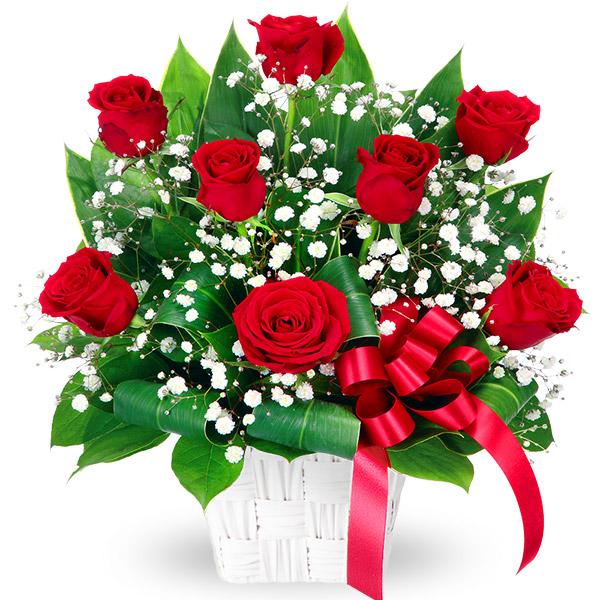 【秋の結婚記念日】赤バラのリボンアレンジメント 511764 |花キューピットの2019秋のお祝いプレゼント特集