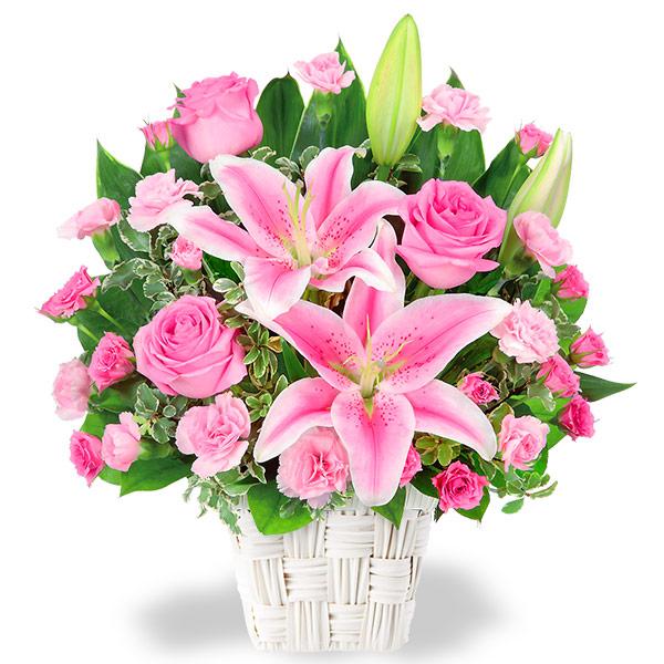 【結婚記念日】ユリとピンクバラのアレンジメント 511782 |花キューピットの結婚記念日プレゼント特集2020